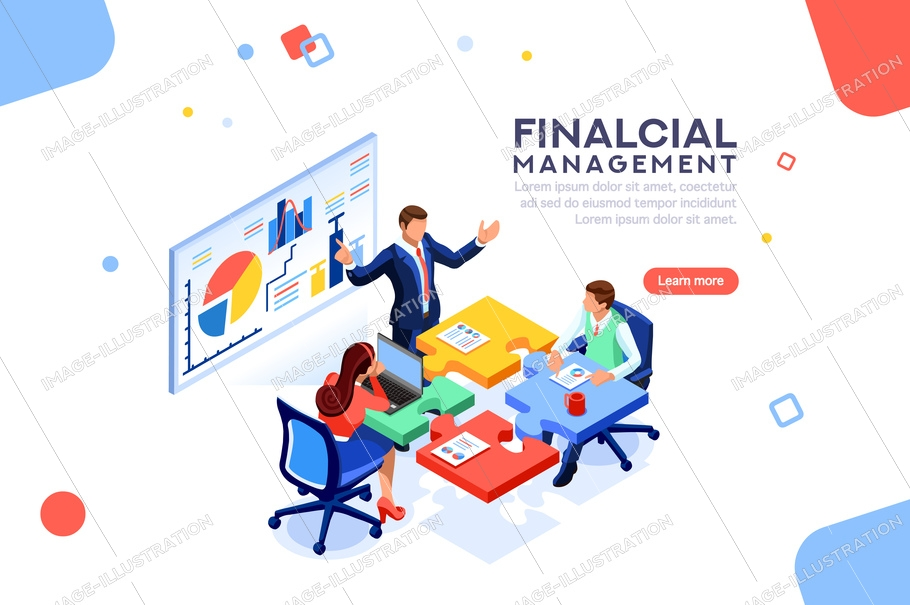 Project management financial report strategy. Consulting team. Collaboration concept with collaborative people. Isometric business analysis planning. Flat isometric characters vector illustration.