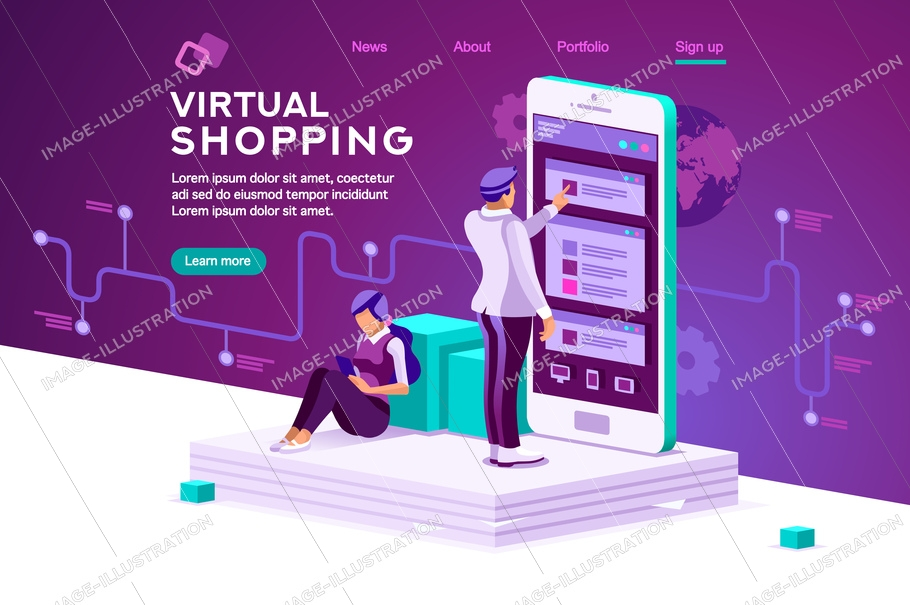 Virtual shopping. Software data interaction. Modern people interacting. Infographic, database graphs, retail chart, order interface tracking. Concept 3d flat isometric illustration. Characters vector.