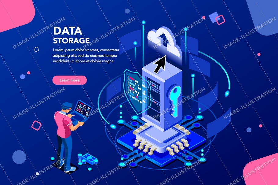 Data Services Concept Isometric - Image Illustration