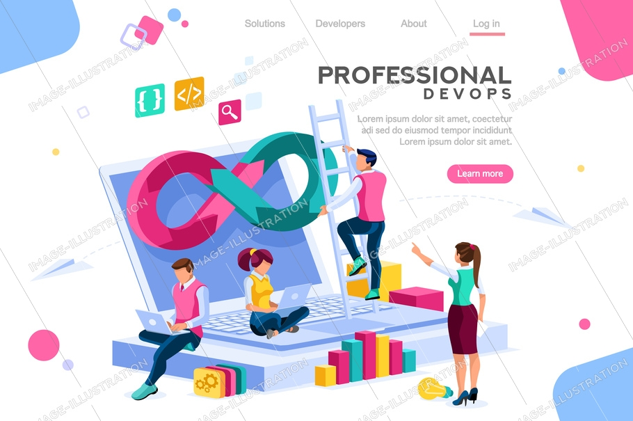 Programmer, user administrator, professional engine. Software support to build banner infographic. Administration images flat technician concept, devops images. Isometric illustration.