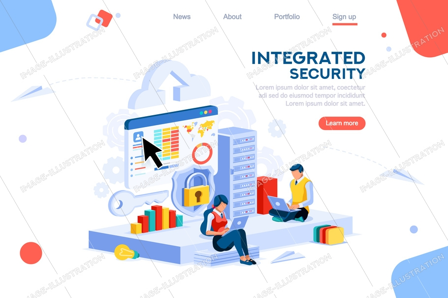 Data services for innovation. Safety social global integrated security. Virtual key support. Storage drawing circuit of database. Web banner, flat isometric illustration isolated on white background.