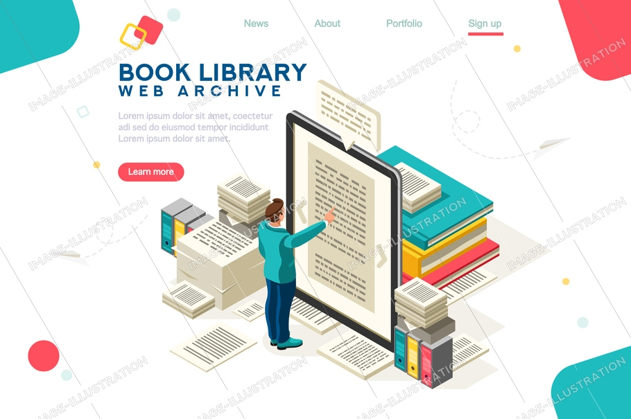 Media book library concept. E-book, reading an ebook to study on e-library at school. E-learning online, archive of books. Flat isometric characters vector illustration. Landing page for web.