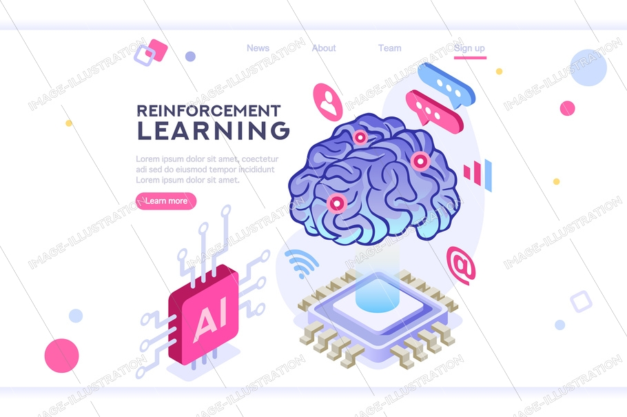 Colored hi integrated scientific innovative machine. Innovation, clever brain, artificial intelligence. Banner between white background, between empty space. 3d images isometric vector illustrations.