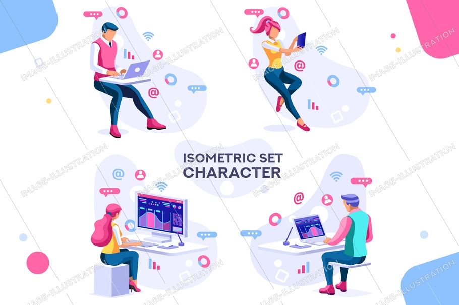 Management workflow, business graphs. Brainstorming infographic. Interactive set of situations. Man concept. Interacting people. 3d images isometric people vector illustrations.