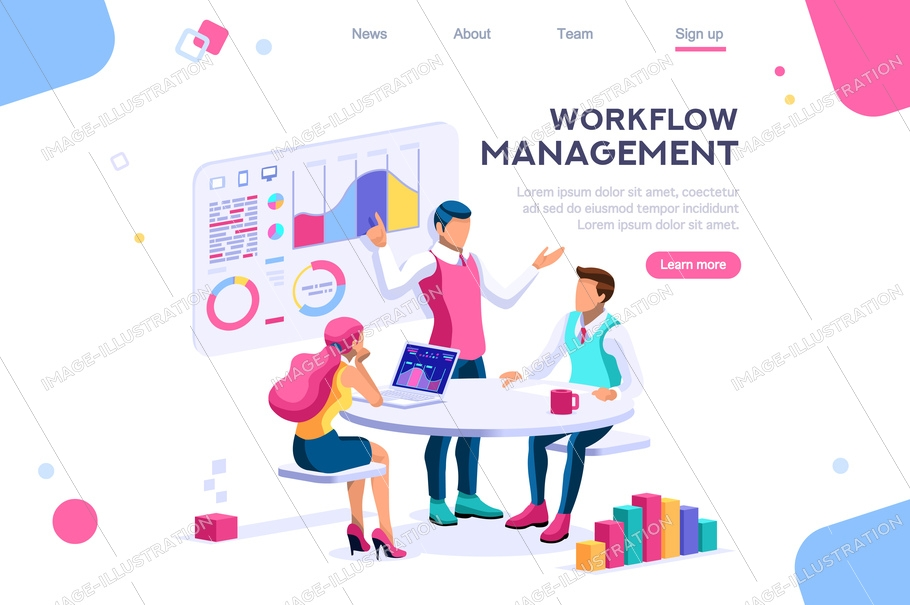 Management workflow, business graphs. Brainstorming infographic. Interactive set of situations. Man concept. Interacting people. 3d images isometric vector illustrations.