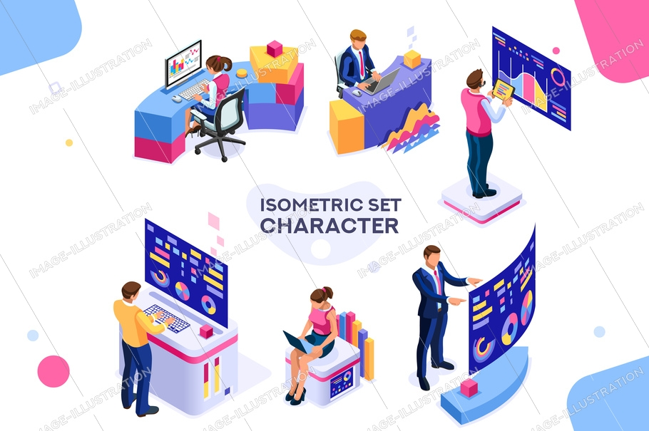 Chart analyzing, statistics visualization display. Database, desktop visualization management. Interactive analysis, brainstorming process. Programmer images isolated on white background. 3d isometric