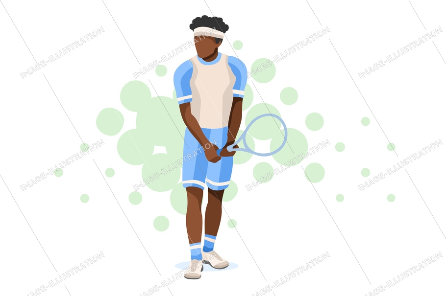 Olympics workout playing tennis. Set, sportsman uniform. Shot, match pose competition. Rings medal. Games international sports apparel. Ball hit collection. Man and racket. Athlete character flat icon