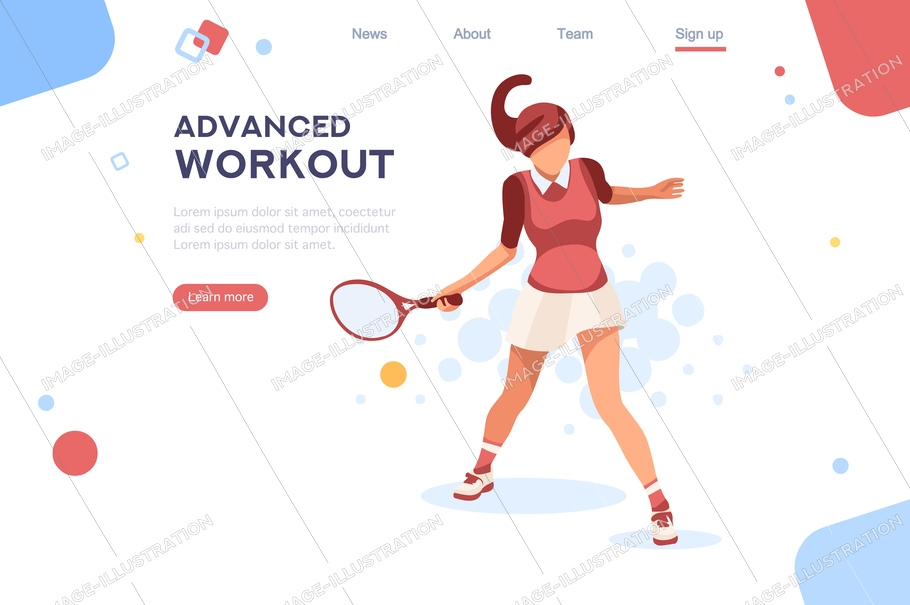 Olympics workout playing tennis. Set, sportswoman uniform. Shot, match pose competition. Rings medal. Games international sports apparel. Ball hit collection. Woman and racket. Athlete character flat