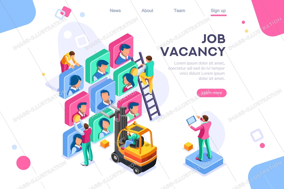 Vector business vacancy, employer social contract, group hire character. Agency job. Employee client. Flat color icons, creative illustrations, isometric infographic images, web banner - vector