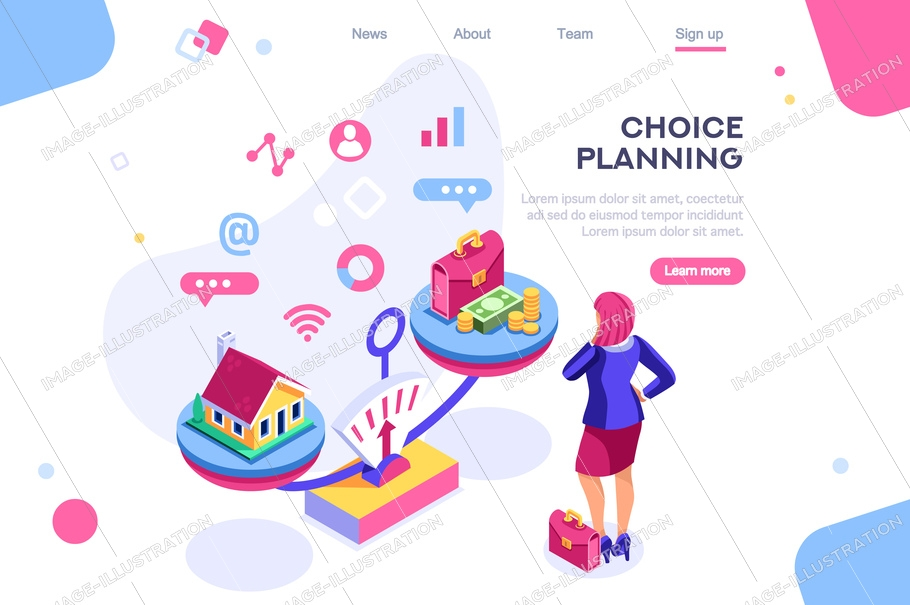 Choice, life responsibility, job choosing, professional decision balance. Banner between white background, between empty space. 3d images isometric vector illustrations. Interacting people
