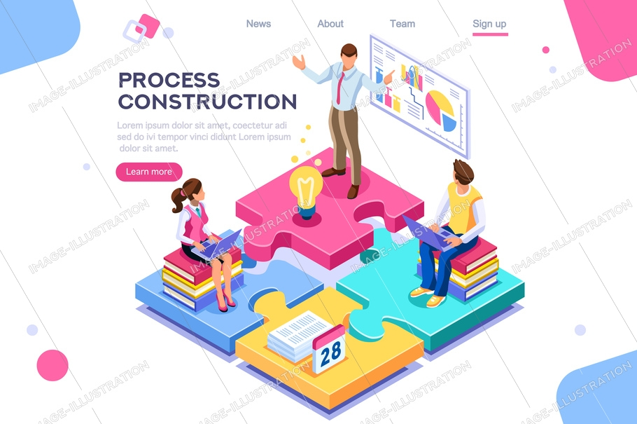 Corporate, joint company. People push support, process construction concept. Flat color icons, creative illustrations, isometric infographic images, web banner