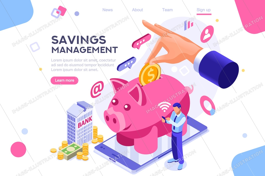 Depositing, banknote banner. Money on smartphone, coin holding. Bank concept for infographics, hero images. Flat isometric vector illustration. Web banner between white background, between empty space