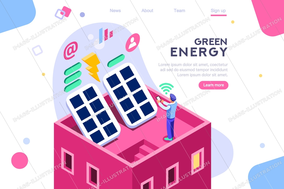 Digital solar building. Panels, electric economy, house device. Concept for infographics, hero images. Flat isometric vector illustration. Web banner between white background, between empty space