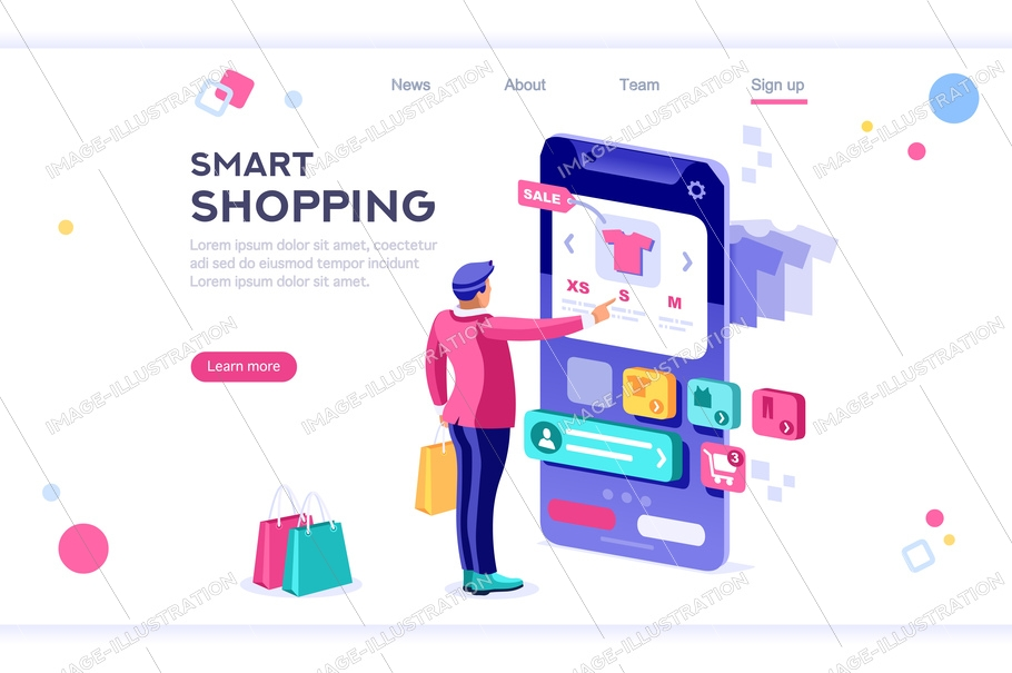 E-commerce buyer. Internet items. Banner between white background, between empty space. 3d images isometric vector illustrations. Interacting people