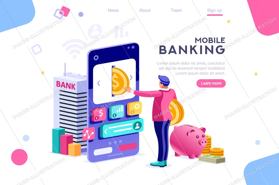 Bank holding coin on smartphone. Money banner, banknote depositing concept for infographics, hero images. Flat isometric vector illustration. Web banner between white background, between empty space
