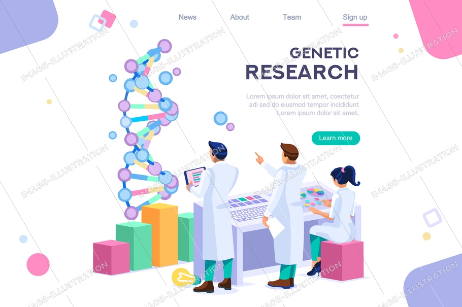 Genetic banner promotion. Research, genome concept for infographics, hero images. Flat isometric vector illustration. Web banner between white background, between empty space