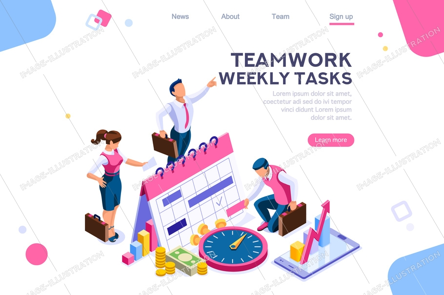 Business tasks schedule week. Clock, blackboard, computer graphic. Task background, flat color icons, creative illustrations, isometric infographic images, web banner - vector
