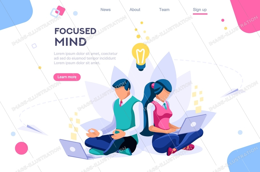 Search ideas, concentration concept. Meditation, health concept, can use for web banner, infographics, hero images. Flat isometric vector illustration isolated on white background