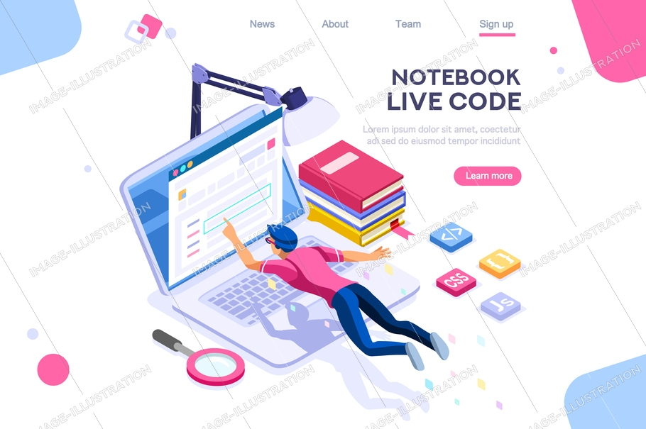 Media book library concept. E-book, reading an ebook to study on e-library at school. E-learning online archive. Flat isometric characters vector illustration. Landing page for web. Notebook live code