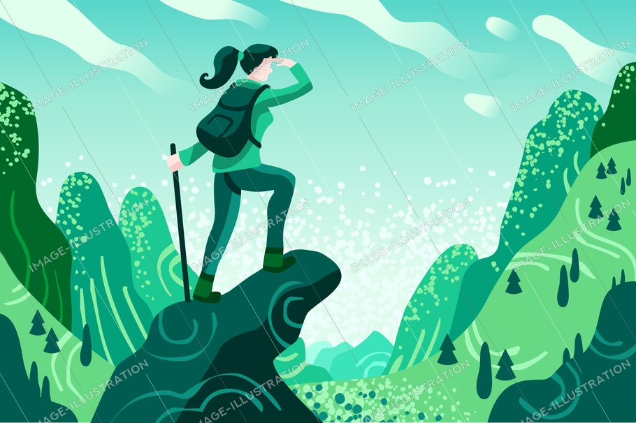 Explorer discovery, watch and explore touristic valley with traveller backpack. Flat color icons, creative illustrations, isometric infographic images, web banner - vector
