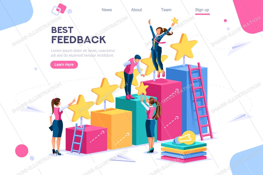 Arrows score, win and grow. Star choose, best feedback comment. 5 stars rating, people and text, characters concept for web banner, infographics, hero images. Flat isometric vector illustration