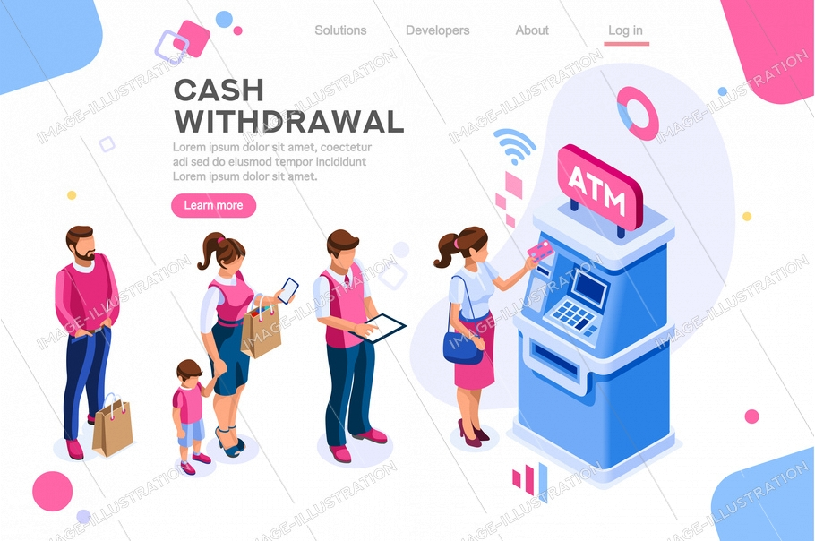 Financial, withdrawal cash. Human queue at atm, web cashbox, machine transaction, can use for web banner, infographics, hero images. Flat isometric vector illustration isolated on white background