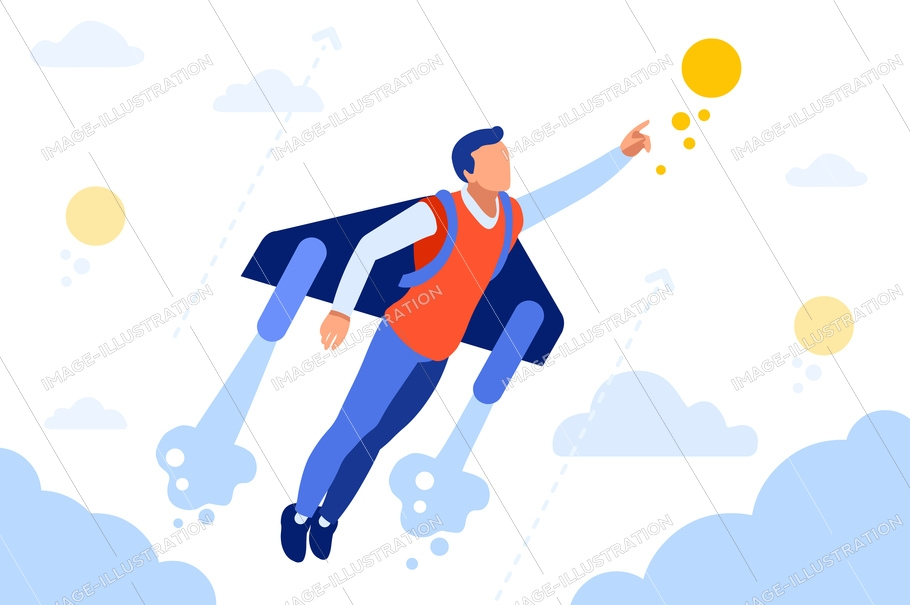 Business extreme to achieve way. Vehicle to fly, jet transportation pack. Activity, move, recreation concept for web banner, infographics, hero images. Flat isometric vector illustration isolated on
