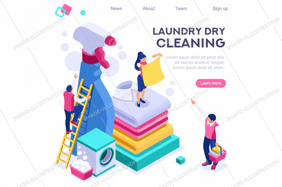Spot bubble, domestic basin clean, laundromat wash dry. Dirty clothing spot shirt dry service concept for web banner infographics images. Flat isometric illustration isolated on white background