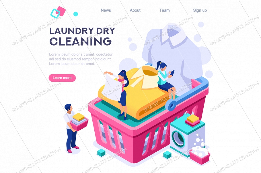 Dry service, shirt on spot. Clothing dirty dry wash laundromat. Clean on basin domestic bubble spot concept for web banner infographics images. Flat isometric illustration isolated on white background