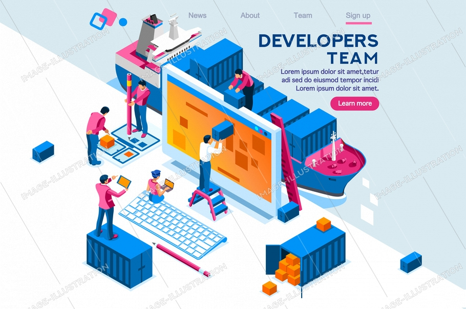 Engineer team at project development, template for developer. Coding develop, programmer at computer or workstation for business. Concept with character, flat isometric container illustration
