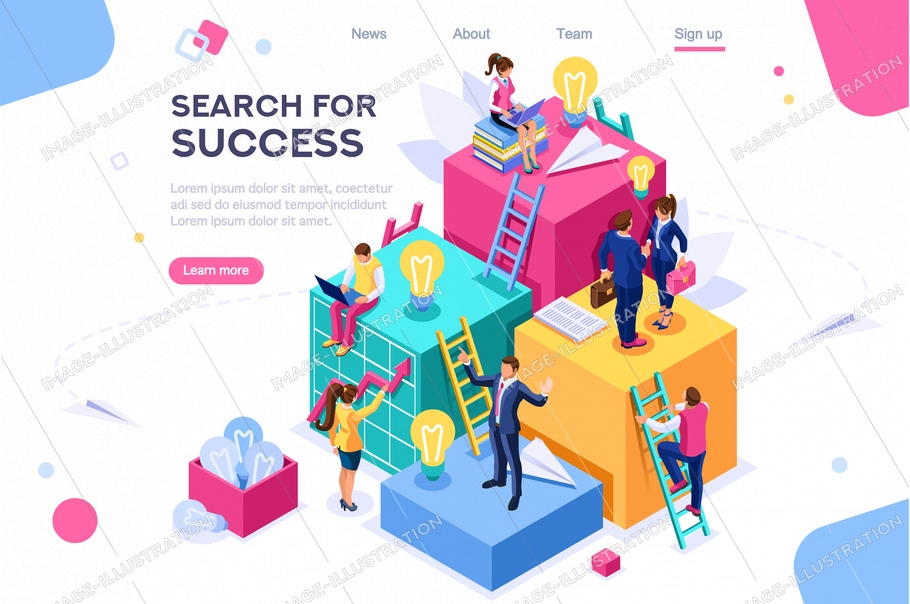 Search idea, little success advancement, achievement of goal. Path up stairs. Concept for web banner, infographics, hero images. Flat isometric illustration isolated on white background