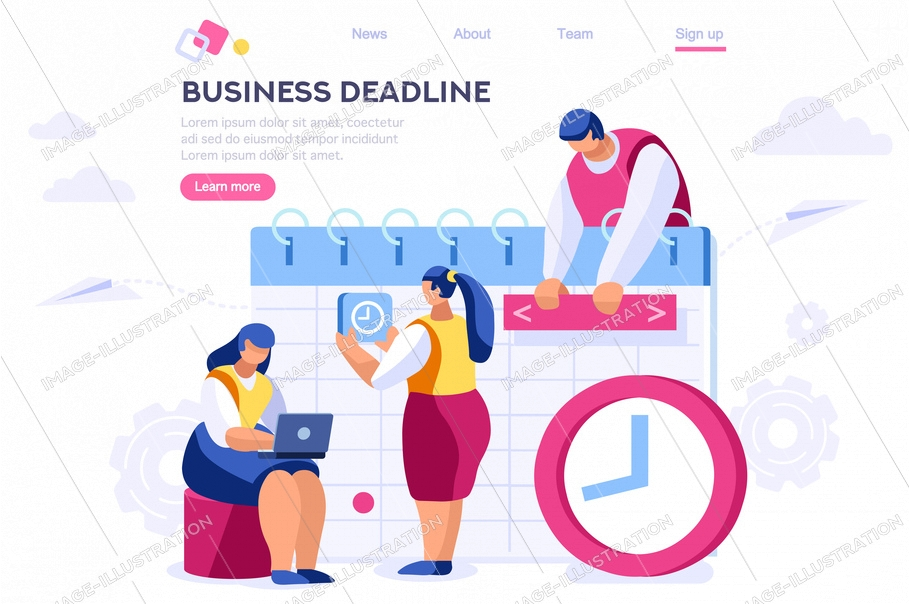 Agenda business reminder, paper schedule, organizer. Deadline meeting, month appointment for graphic worker. Web banner infographics hero images. Flat illustration isolated on white background