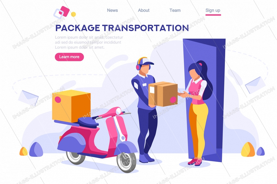 Mail office page concept, postage package website. Courier transportation of cartoon package on web. Bringing character. Web banner, hero images, flat illustration isolated on white background.