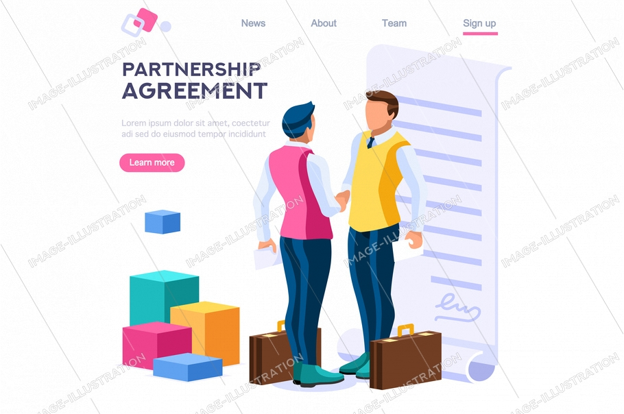 Success partnership successful contract greeting partner leadership friendship agreement idea concept for web banner hero images. Flat isometric vector illustration isolated on white background