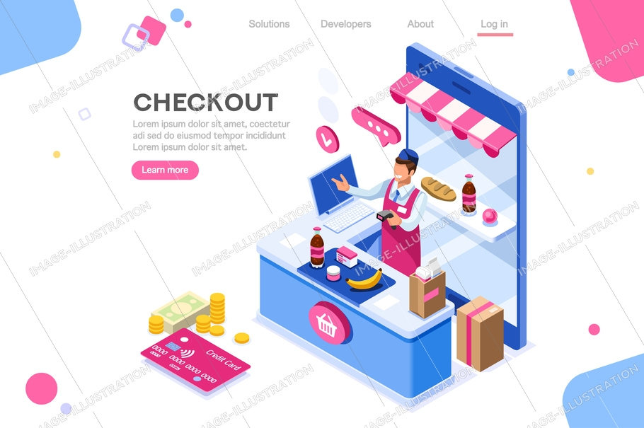 Supermarket, line waiting images, buyer basket checkout, retail. Woman, customer purchase, cashbox buy. Web banner, infographics. Flat isometric illustration isolated on white background