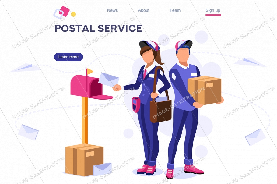 Delivery air shipping person post mail, parcel set. Polluted element. Wear a face for service. Clip with workers, express clipart. Cartoon flat vector illustration hero image isometric banner