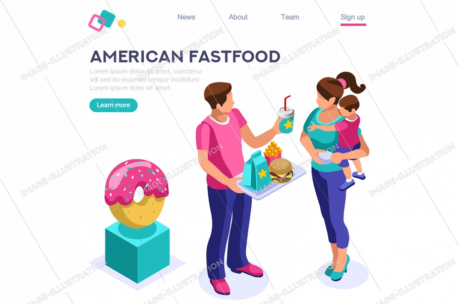 Female hot nutrition. Cafe, character with beverage, soda food. Fast lifestyle, meal, french fries eating. Calorie cartoon flat vector illustration, hero images, isometric banner. Web page image.
