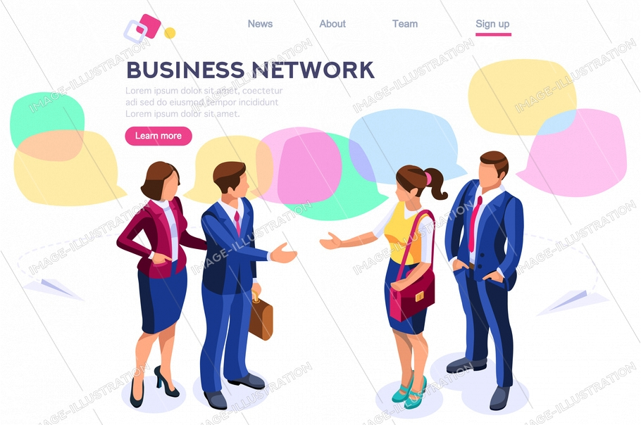 Thinking network consulting. Businessman style. Chat dialogue discuss, social dialog connection, discussion of corporate. Bubble, work speech, blog cartoon flat vector illustration hero images banner.