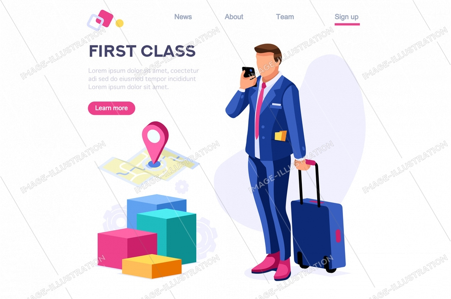 Tourism clip customer collection. Cart for travel, businessman client set with baggage element, staff, art. European person at the hotel. Cartoon flat vector illustration, hero images isometric banner