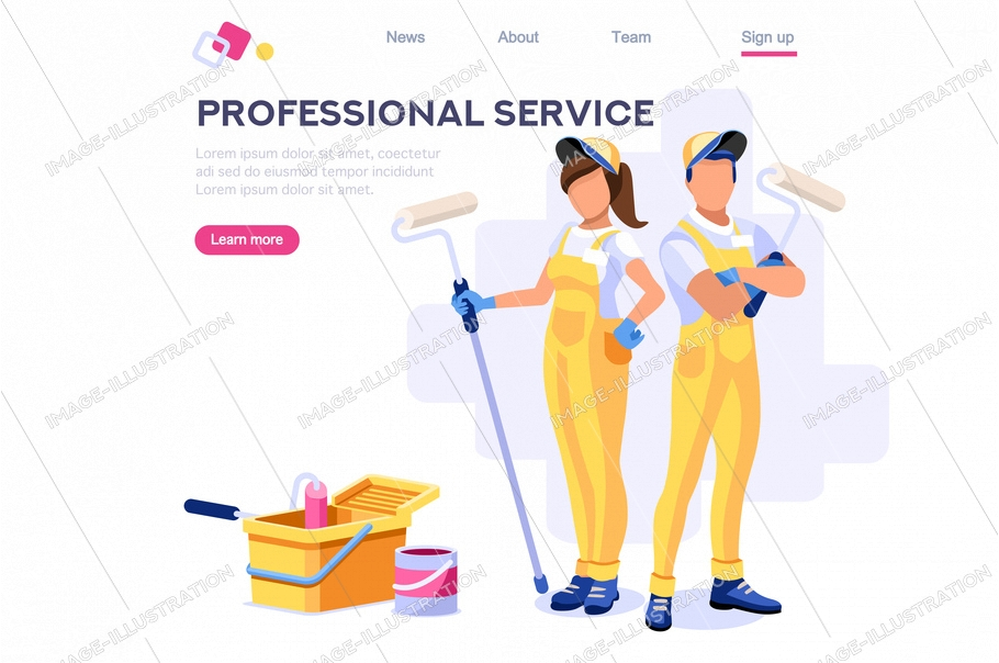 Wall repair professional, home clip. Painting work, roller set, vacuuming design, sweeping wallpaper. Service cleaner element. Worker cartoon flat vector illustration banner isolated isometric concept