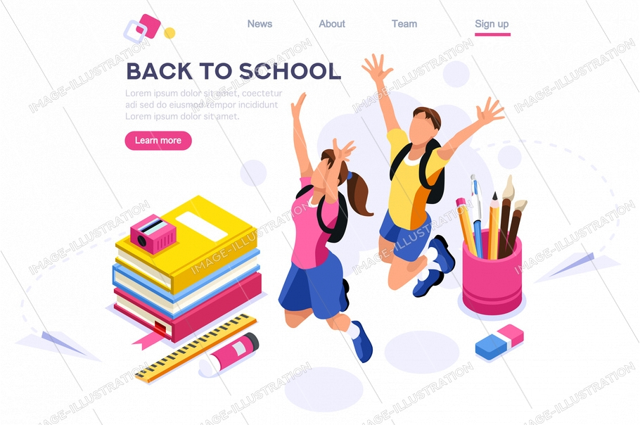 Painting people, pencil accessory, web stationery on website, back brush. Educational backpack. Education holding, school page equipment. Cartoon flat vector illustration, hero images isometric banner