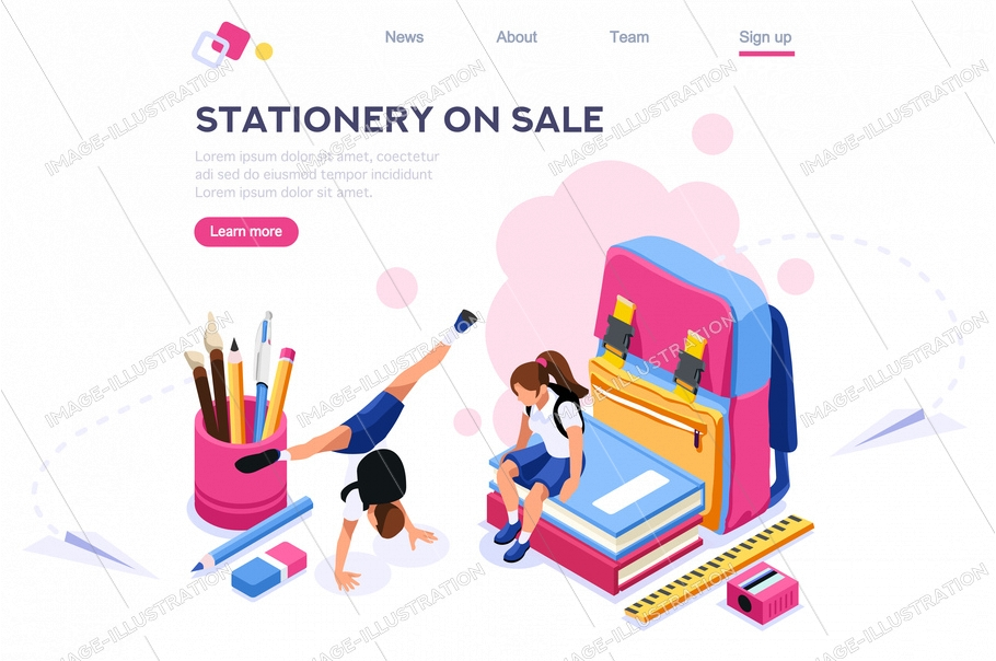 Elementary book brush, people with pencil, website stationery, web accessory for paint. Educational backpack. Education holding school page equipment. Cartoon flat vector illustration isometric banner
