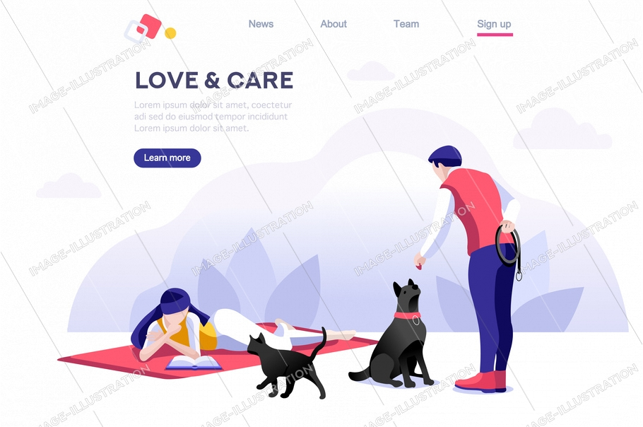 Relationship poster, domestic concept. Leisure for character. Flyer with animal for female, relax banner. Male care, walk and love, outdoor with pet. Cartoon flat vector illustration isometric banner.