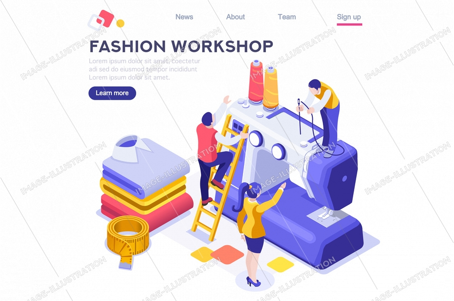 Workshop of machine for professional fashion hobby. Working assistant design outfit, cartoon apparel. Business create creative textile. Craft material concept flat vector illustration isometric banner