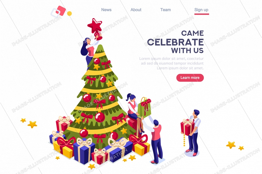 Decorative spruce fir with balls. Female holding traditional decoration with man for celebration. Website seasonal landing page to celebrate december winter season. Web preparation to prepare new year