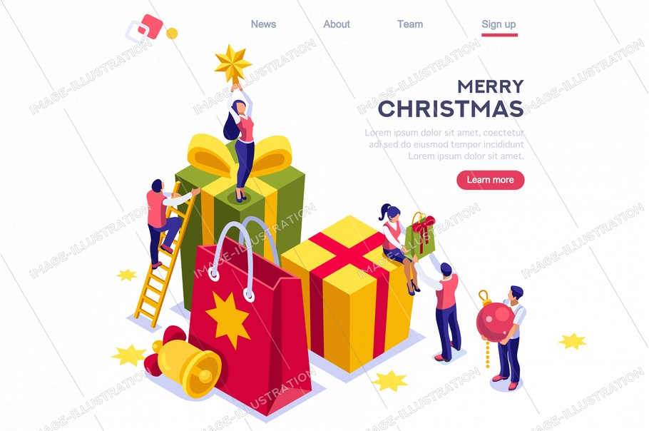 Human smile, male celebrating festive celebration with bell and tiny pretty gift. Female sitting top of present holding shopper. Retail for new year party. Banner website page for winter season.
