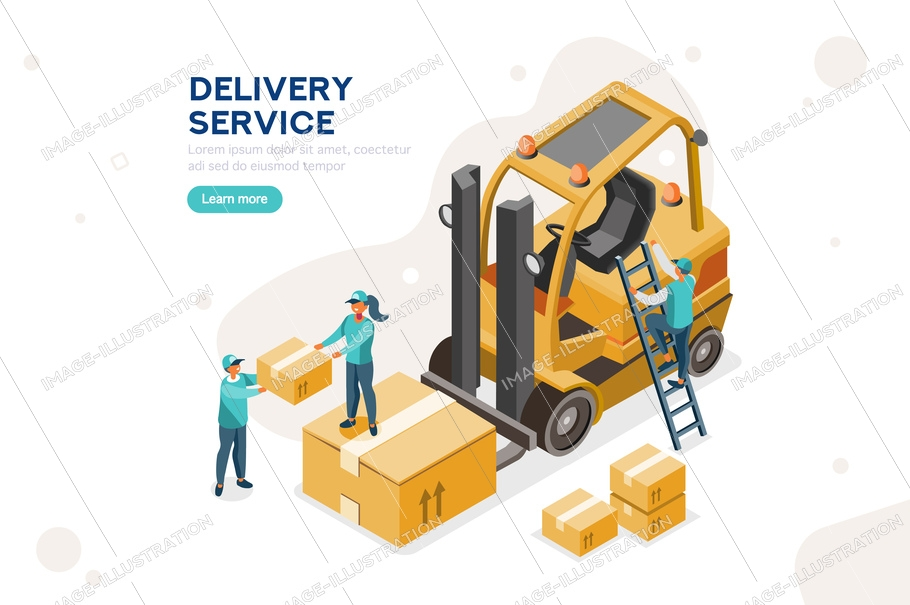 Moving cardboard and driving cargo. Concept of parcel warehouse and auto delivering. Freight loading and storage, transport service for cartons. Cartoon flat vector illustration.