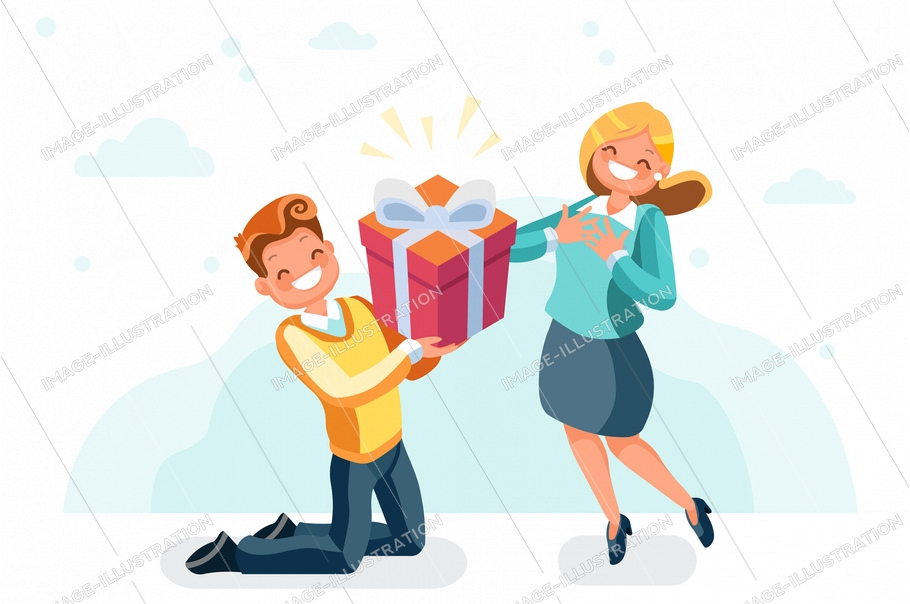 Website with loving present, woman giving valentine's surprise to a man. Valentines for young surprised or web birthday page. Holidays give gift symbol. Love flat sign cartoon vector illustration.