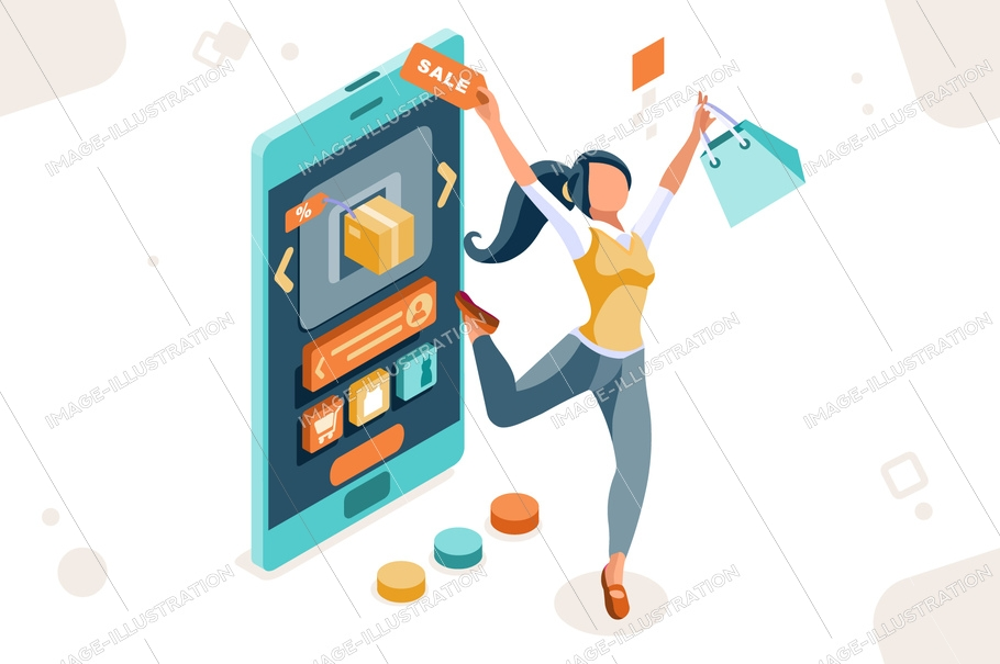 Buy on ecommerce, from store to buyer. Sale for consumer person, e-commerce for women interface online. Fashion tablet used by people. Cartoon flat vector illustration.