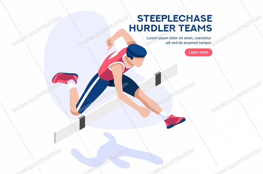 Web page, place with hands of athletes. Tournament with athletics characters for victory. Cartoons on website page on a first strong competition for a gold medal. Flat vector illustration